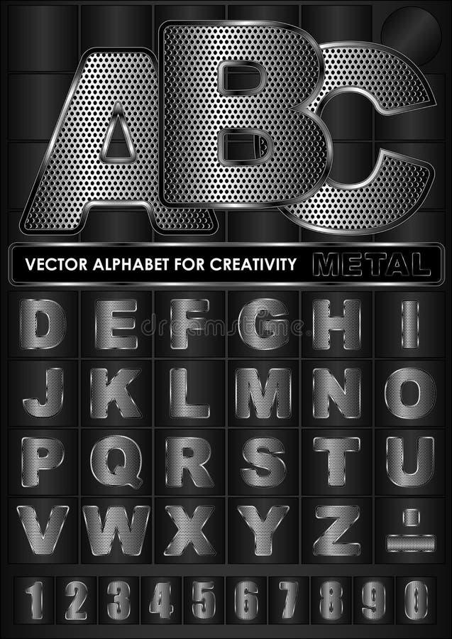 Abecadło wektorowy metal ilustracja wektor