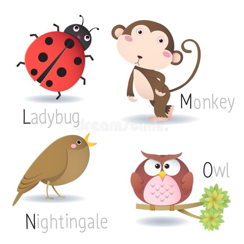 Abecadło z zwierzętami od L O ilustracji