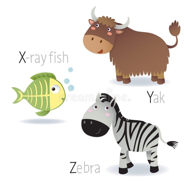 Abecadło z zwierzętami od X Z ilustracja wektor