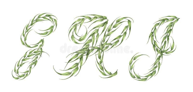 Abecadło zieleń opuszcza z listem G, H, Ja ilustracji