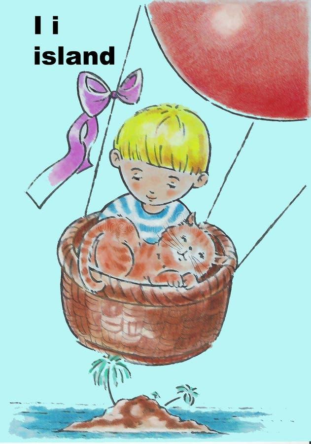 Download Abecadeł dzieci ilustracji. Obraz złożonej z wyspa, palmy - 8820037