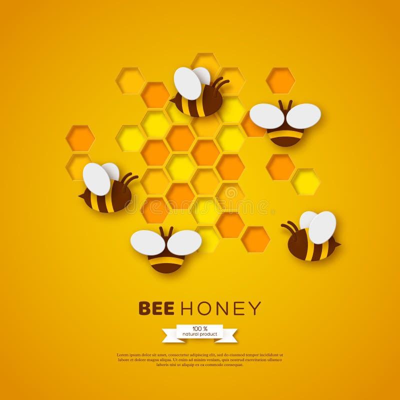 Abeille de style de coupe de papier avec des nids d'abeilles Conception de calibre pour beekiping et produit de miel Fond jaune,  illustration libre de droits