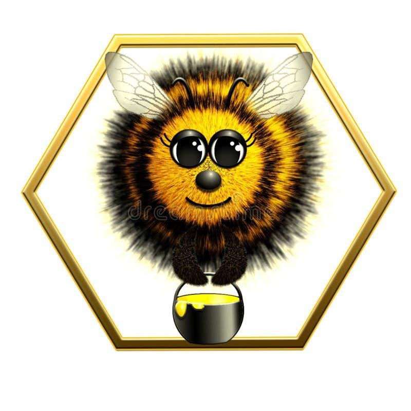 Abeille de vol avec le pot de miel photos stock