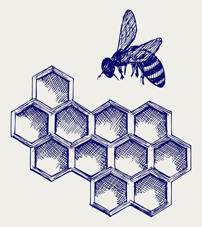 Abeille fonctionnante sur des honeycells illustration libre de droits