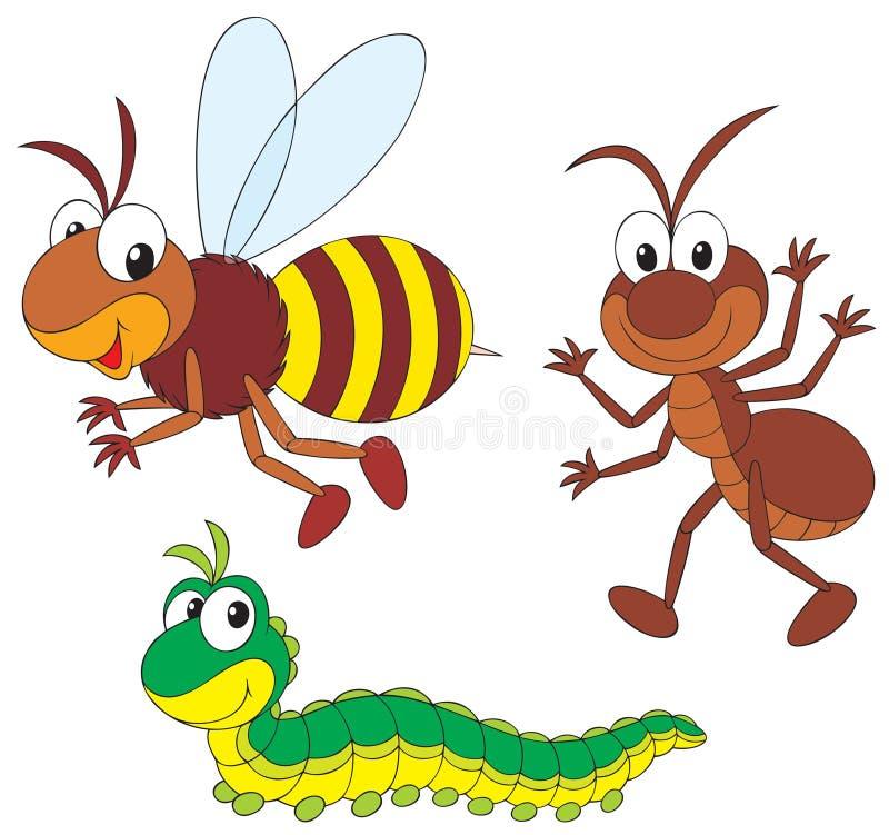 Abeille, fourmi et tracteur à chenilles illustration stock