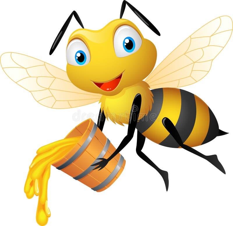 Abeille heureuse avec le seau de miel illustration libre de droits