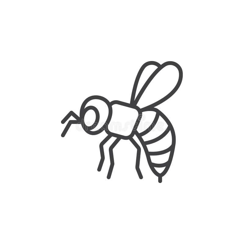 Abeille, ligne icône, signe de guêpe de vecteur d'ensemble illustration stock