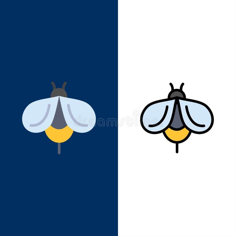 Abeille, mouche, miel, icônes d'insecte L'appartement et la ligne icône remplie ont placé le fond bleu de vecteur illustration de vecteur