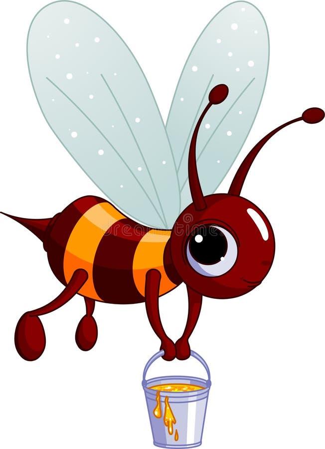 Abeille retenant une position de miel illustration stock