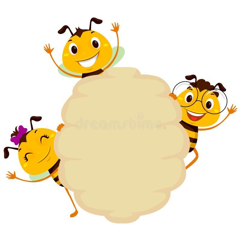 Abeille sur le cadre vide de ruche de conseil illustration de vecteur