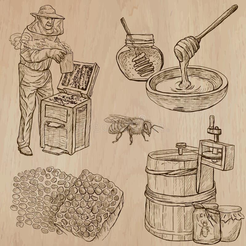 Abeilles, apiculture et miel - paquet tiré par la main 11 de vecteur illustration de vecteur
