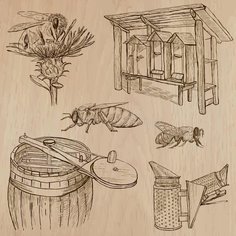 Abeilles, apiculture et miel - paquet tiré par la main 7 de vecteur illustration stock