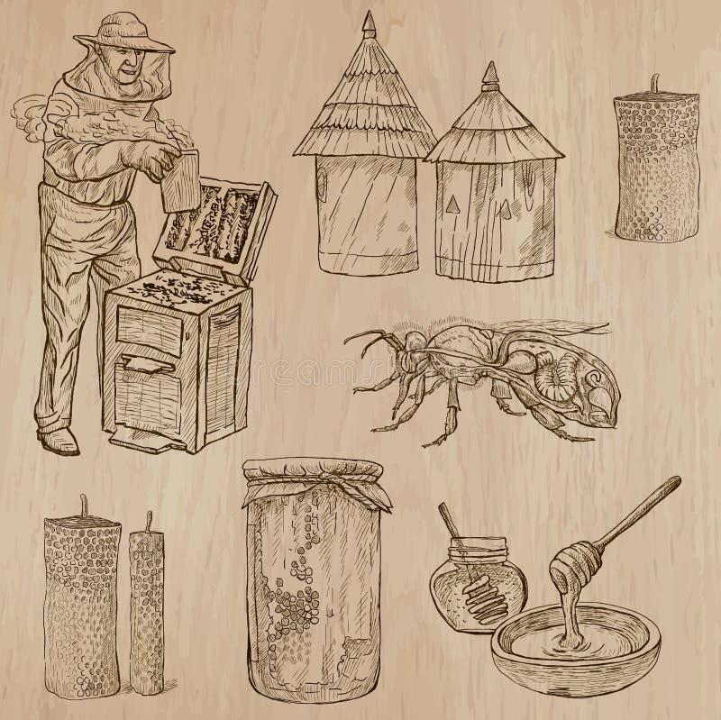 Abeilles, apiculture et miel - paquet tiré par la main 9 de vecteur illustration libre de droits