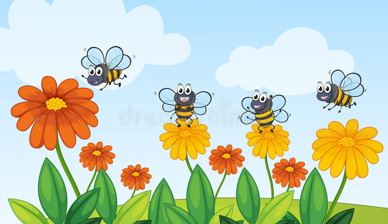 Abeilles d'un vol illustration stock