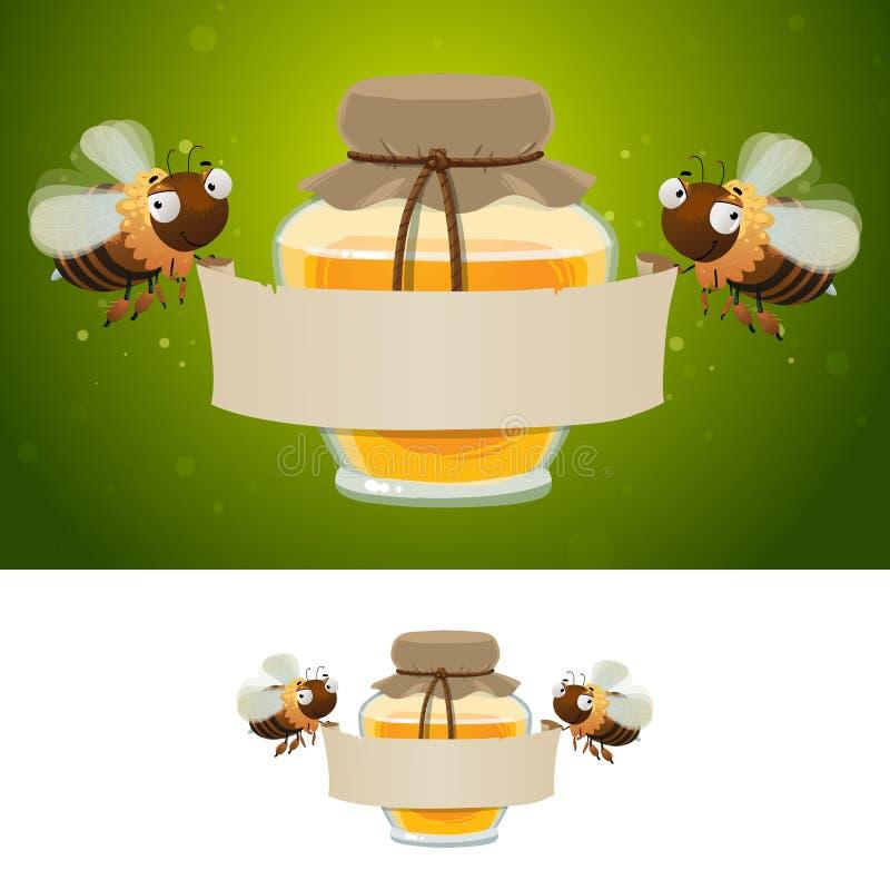 Abeilles de miel tenant la bannière vide illustration de vecteur