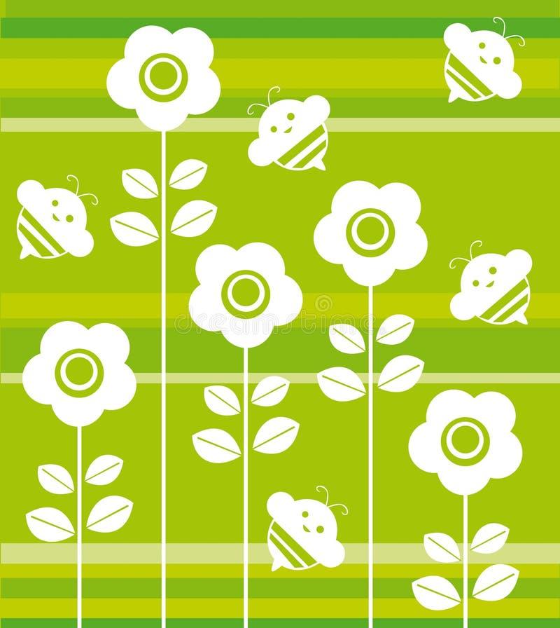 abeilles et fleurs illustration de vecteur