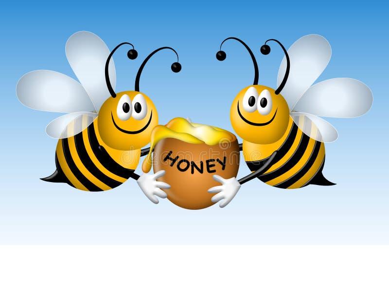 Abeilles occupées de dessin animé avec du miel illustration stock