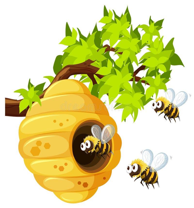 Abeilles volant autour de la ruche illustration de vecteur