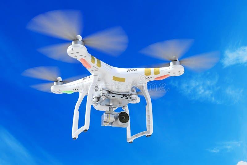 Abejón blanco del quadrocopter con una cámara de vídeo 3d ilustración del vector