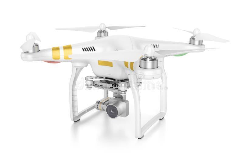 Abejón blanco del quadrocopter con una cámara de vídeo 3d stock de ilustración