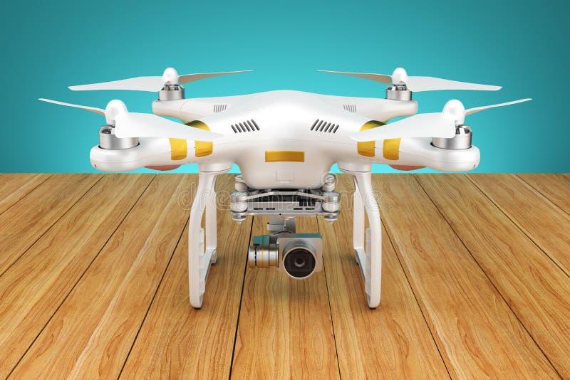 Abejón blanco del quadrocopter con una cámara de vídeo 3d libre illustration