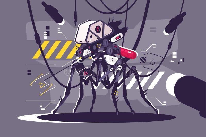 Abejón cibernético del mosquito del robot ilustración del vector