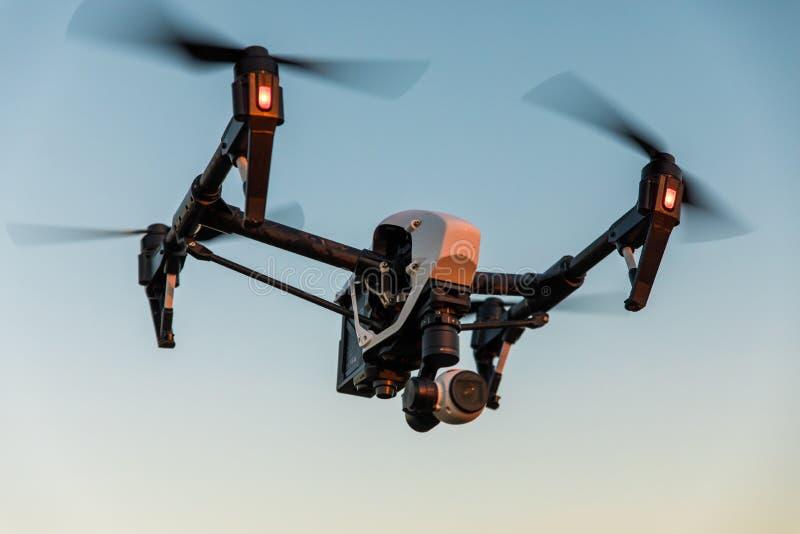 abejón con el vuelo de la cámara digital en cielo sobre campo en puesta del sol imagenes de archivo