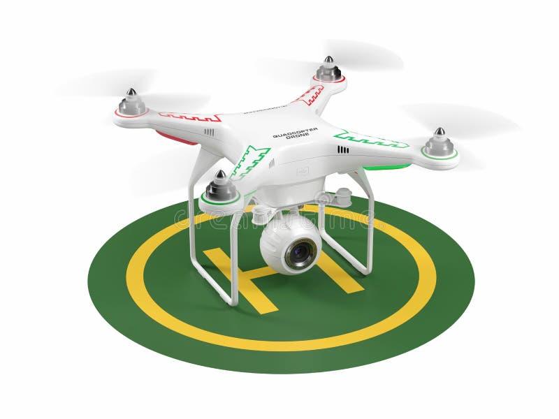 Abejón de aterrizaje en helipuerto verde 3d stock de ilustración