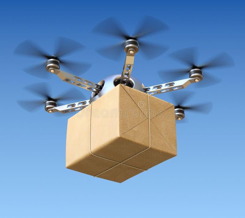 Abejón de la entrega con el paquete de los posts stock de ilustración