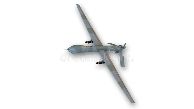 Abejón en vuelo, vehículo aéreo acobardado del combate (UCAV) aislado en blanco stock de ilustración
