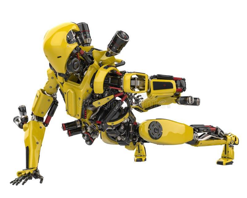 Abejón estupendo del robot amarillo mega que hace flexiones de brazos en un fondo blanco