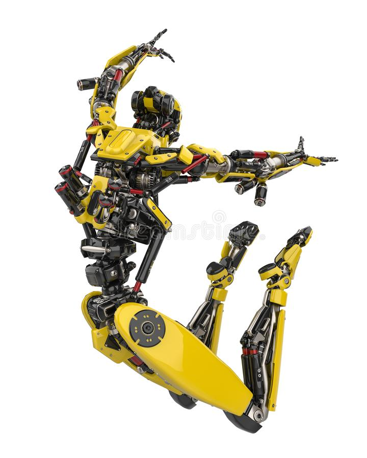 Abejón estupendo del robot amarillo mega que salta en un fondo blanco