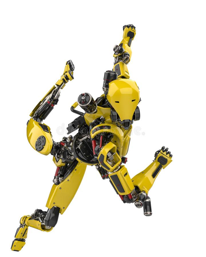 Abejón estupendo del robot amarillo mega que se desliza lejos en un fondo blanco