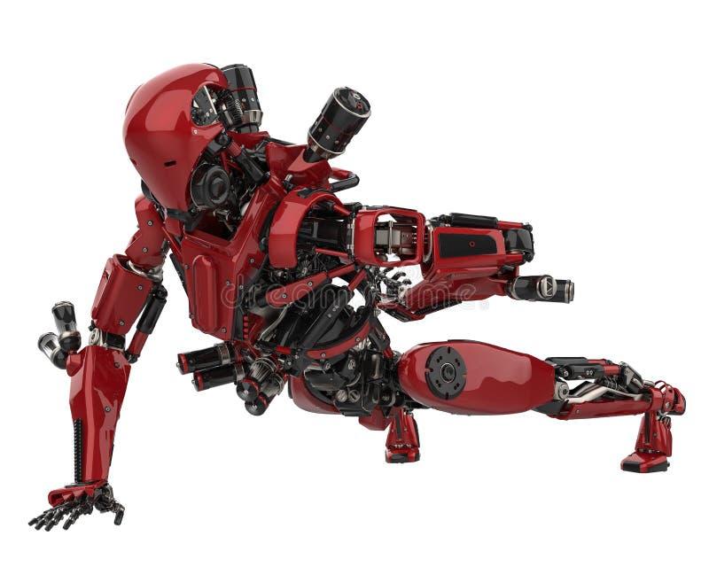 Abejón estupendo del robot mega en un fondo blanco stock de ilustración