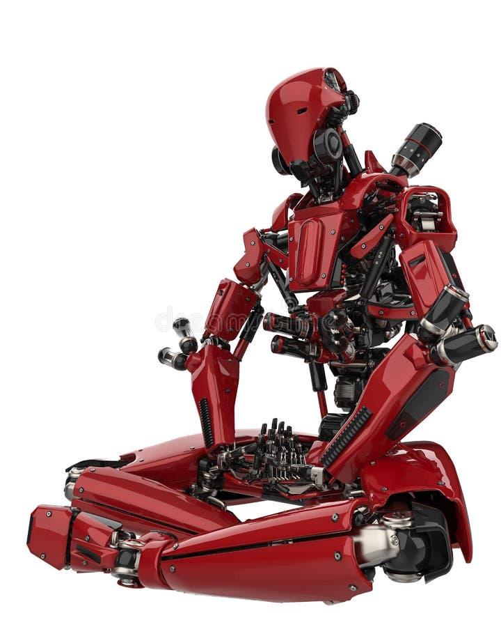 Abejón estupendo del robot mega en un fondo blanco ilustración del vector
