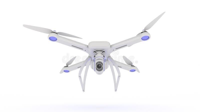 Abejón, quadrocopter, con el vuelo de la cámara de la foto en el cielo azul stock de ilustración