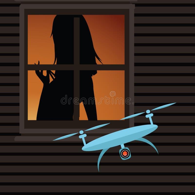 Abejón que espía en una mujer a través de una ventana ilustración del vector