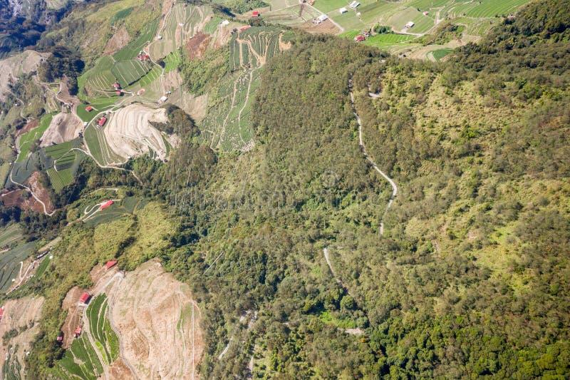 Abejón que vuela hacia el Mt famoso asombroso hermoso Hehuan en Taiwán encima sobre la cumbre, tiro de la visión aérea fotografía de archivo