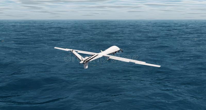 Abejón que vuela sobre la representación del océano 3d ilustración del vector