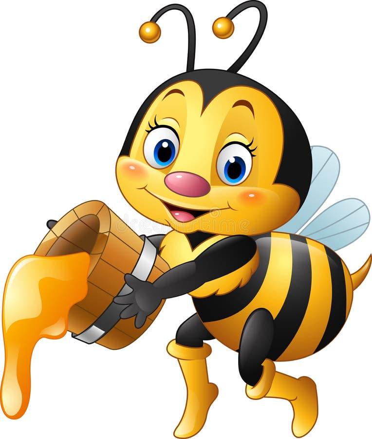 Abeja de la historieta que sostiene el cubo con el goteo de la miel stock de ilustración