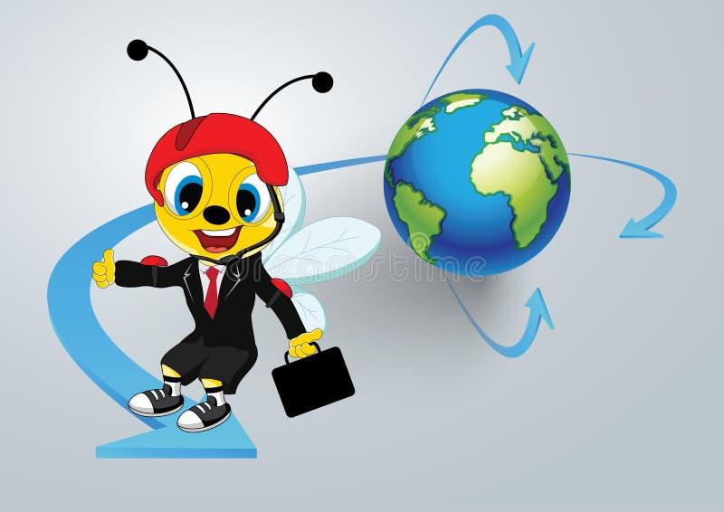 Abeja de trabajador en todo el mundo stock de ilustración