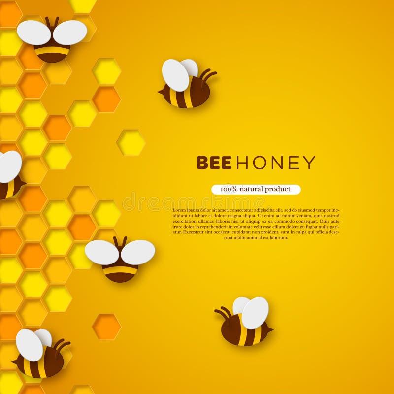 Abeja del estilo del corte del papel con los panales Diseño de la plantilla para beekiping y el producto de la miel Fondo amarill libre illustration