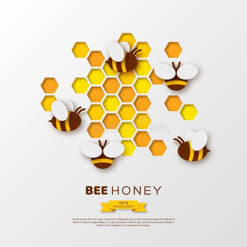 Abeja del estilo del corte del papel con los panales Diseño de la plantilla para beekiping y el producto de la miel Fondo blanco, stock de ilustración