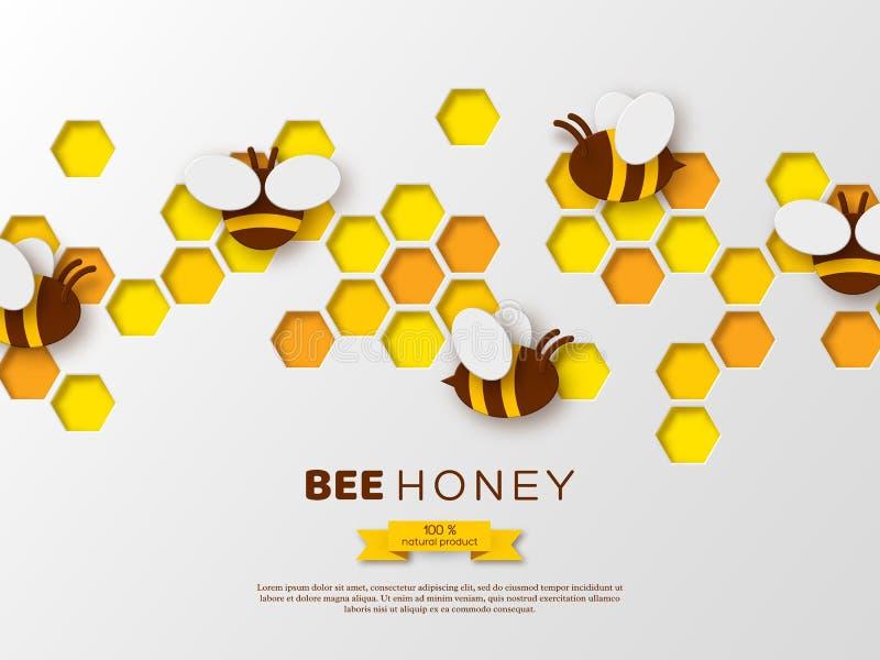 Abeja del estilo del corte del papel con los panales Diseño de la plantilla para beekiping y el producto de la miel Fondo blanco, fotografía de archivo libre de regalías