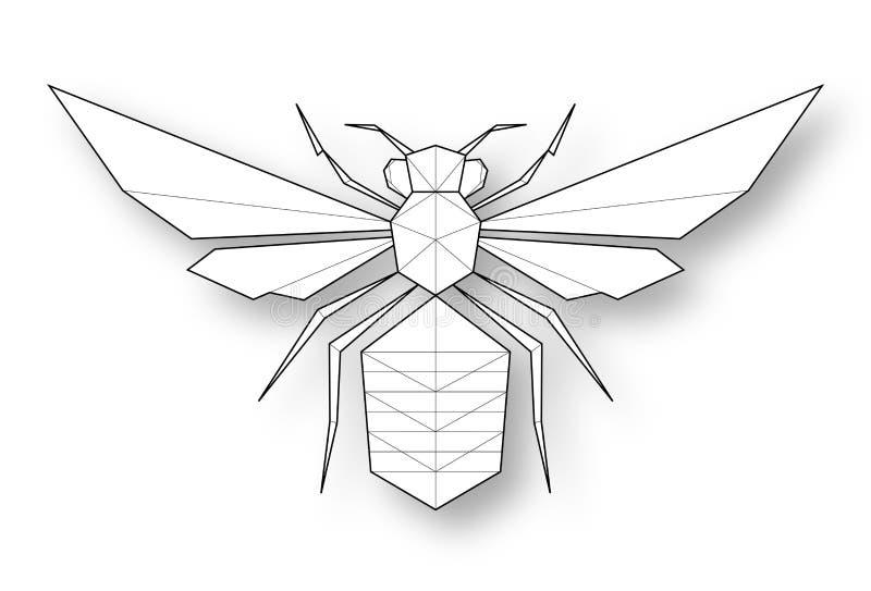 Abeja - ejemplo bajo del polígono stock de ilustración