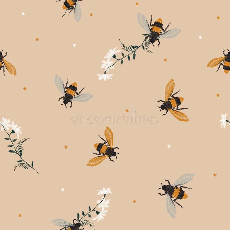 Abeja elegante de la miel del bordado del vintage, y abeja divertida con las flores stock de ilustración