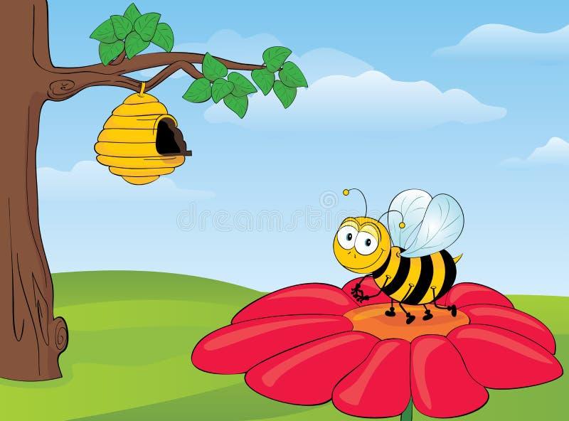 Abeja en la flor stock de ilustración