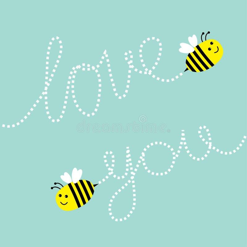 Abeja linda del vuelo dos Estralle la línea amor que usted manda un SMS en el cielo Tarjeta de felicitación Fondo del bebé Diseño libre illustration
