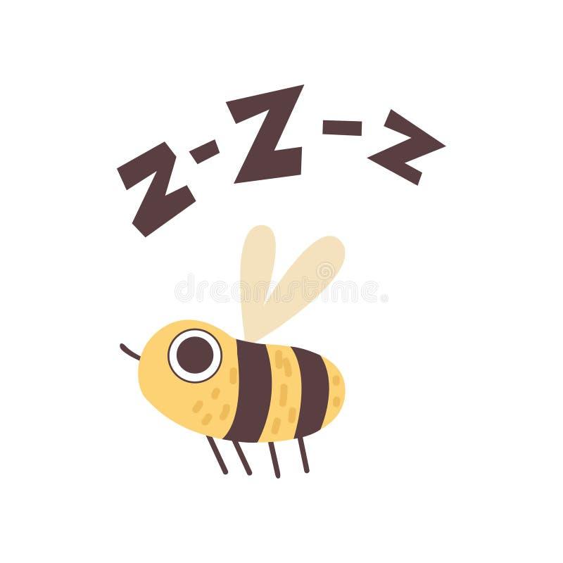 Abeja linda que zumba, insecto divertido de la historieta que hace Zzz el ejemplo sano del vector ilustración del vector