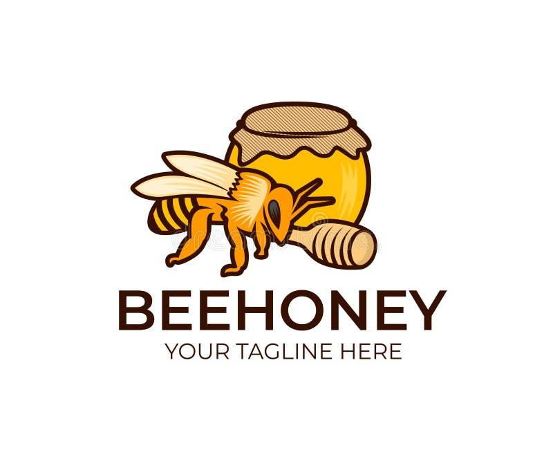 Abeja, miel en el tarro de cristal y cazo de madera de la miel, plantilla del logotipo Apicultura, colmenar y agricultura, cultiv stock de ilustración